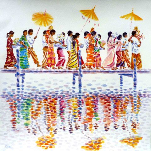 water colour painting. Inle Lake procession